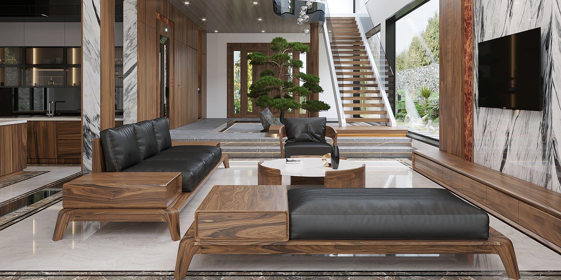Sofa gỗ tự nhiên - Nội Thất Phòng Khách Sang Trọng