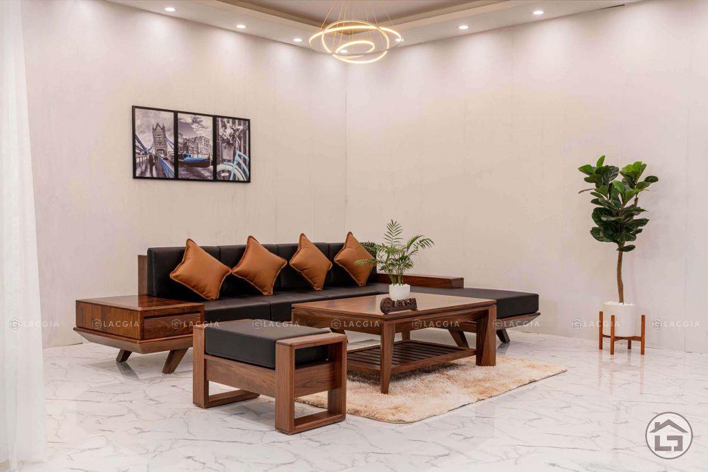 Sofa gỗ chữ L đẹp SF08 chất liệu da keyston