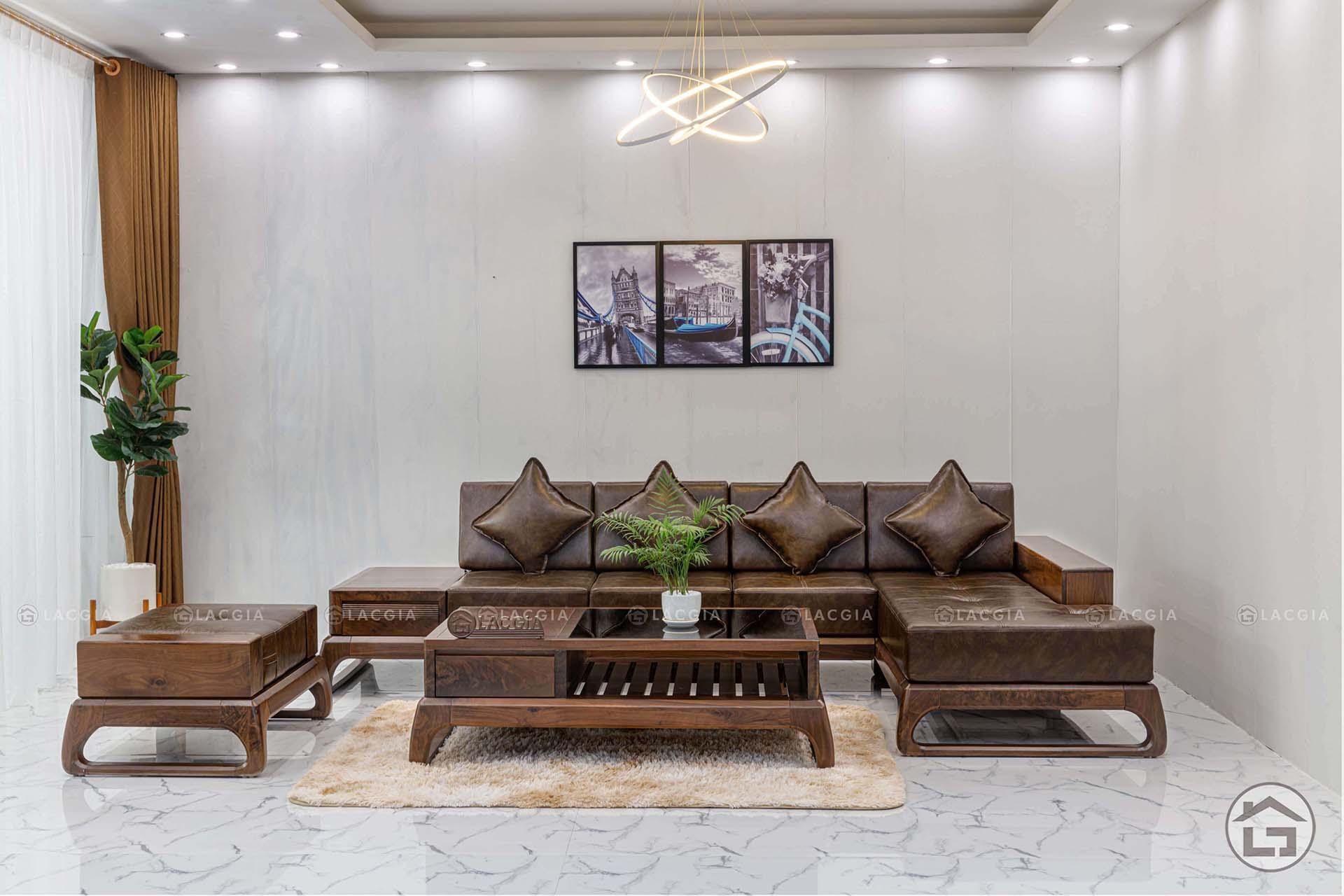 Sofa gỗ chữ L có kiểu dáng đa dạng và hiện đại