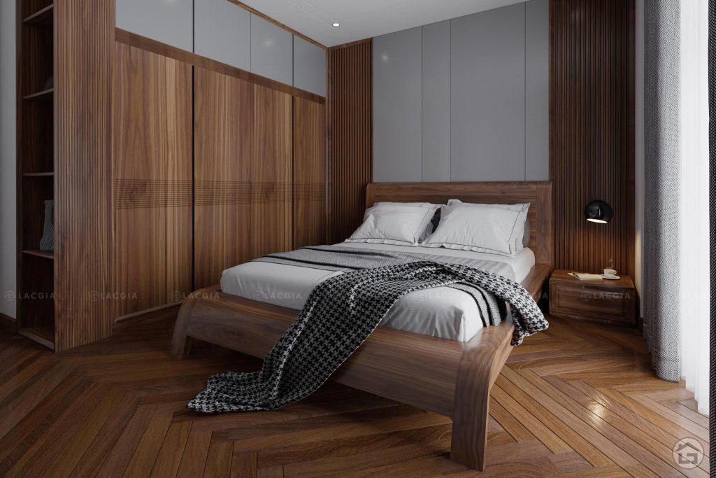 Không gian phòng ngủ ấm cúng với những món đồ nội thất gỗ