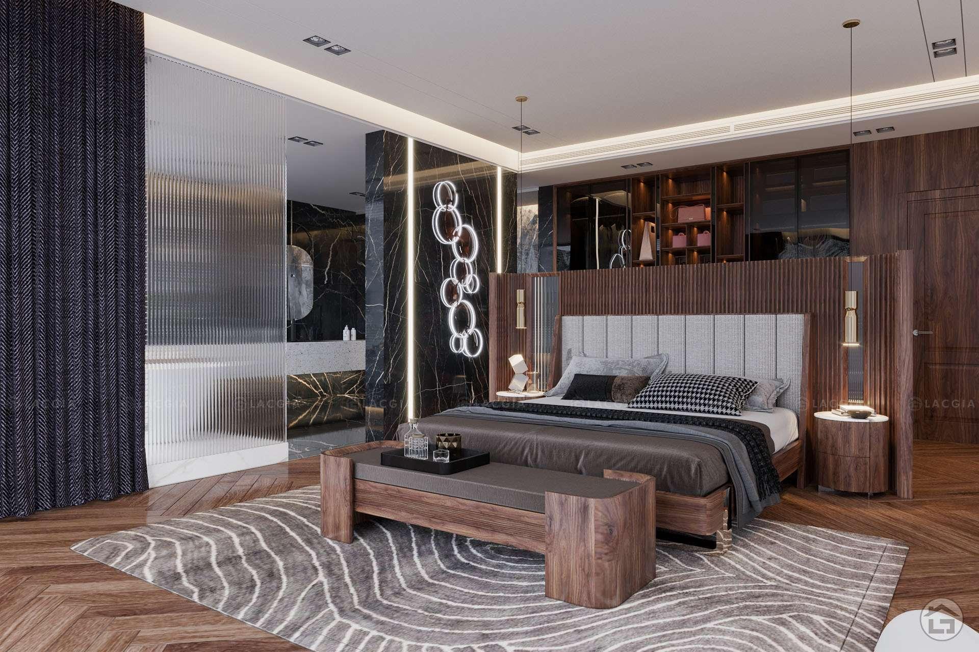 Không gian phòng ngủ rộng thoáng có thiết kế nội thất gỗ sang trọng