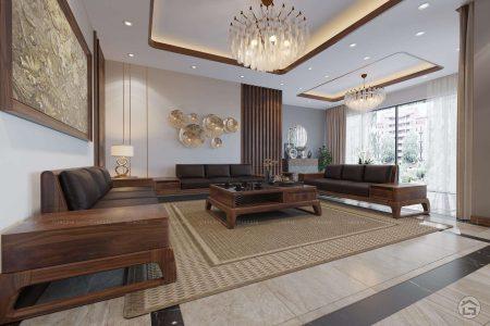 Thiết kế nội thất phòng khách gỗ óc chó tại Bắc Giang
