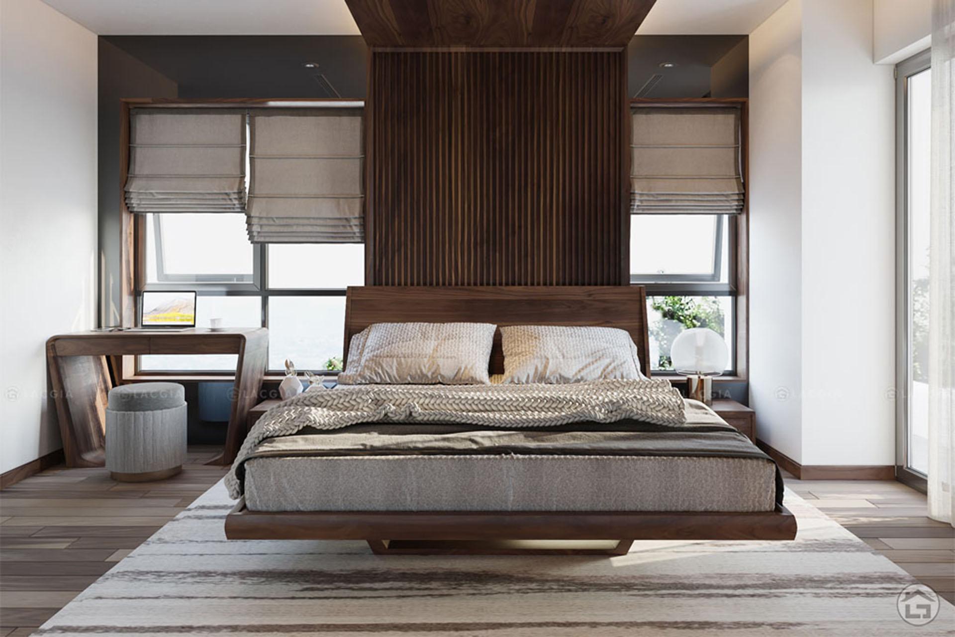 Thiết kế cân đối, màu sắc trong phòng ngủ hài hòa