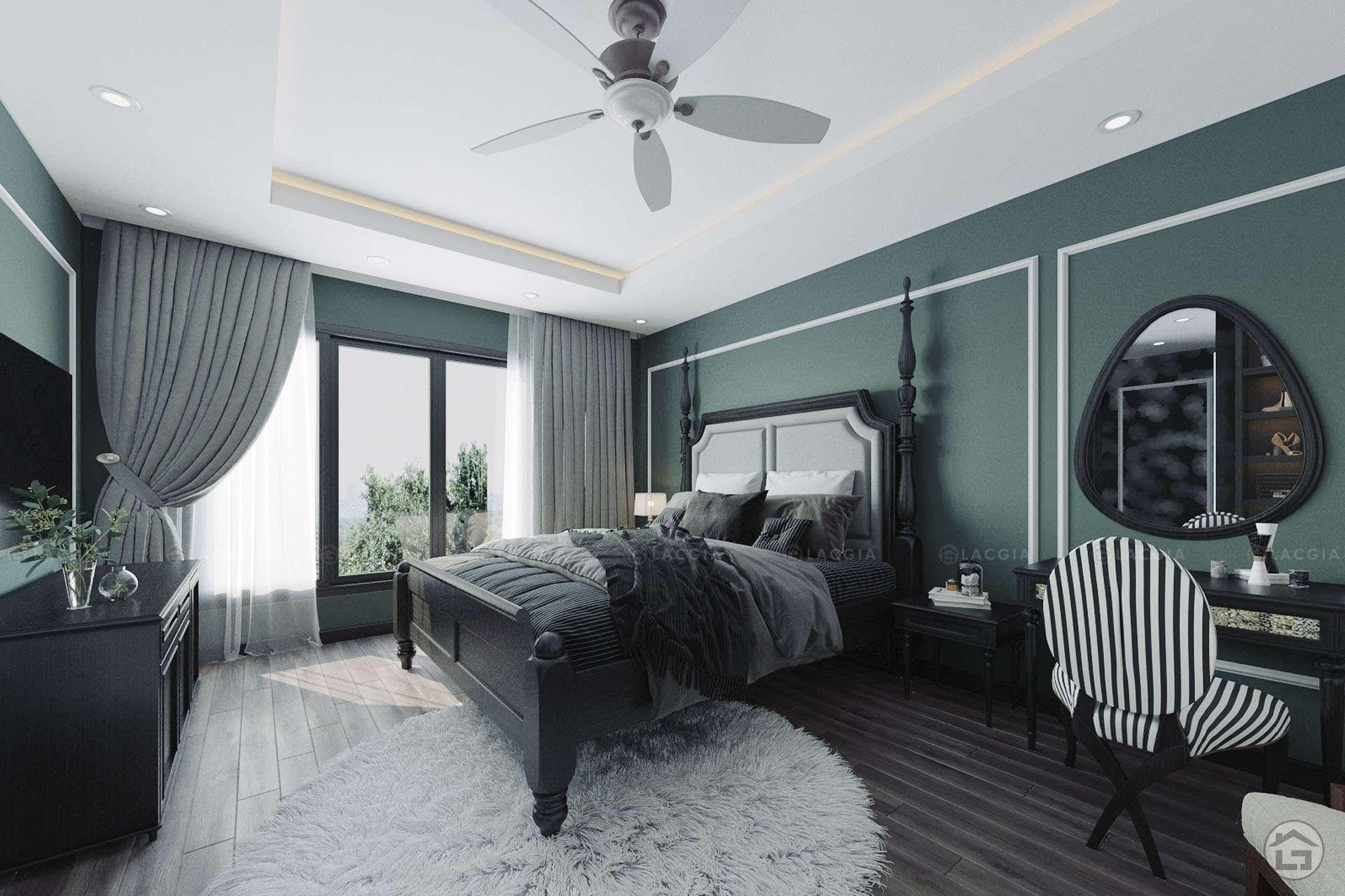 Mẫu phòng ngủ Master thiết kế theo phong cách Đông Dương (Indochine)