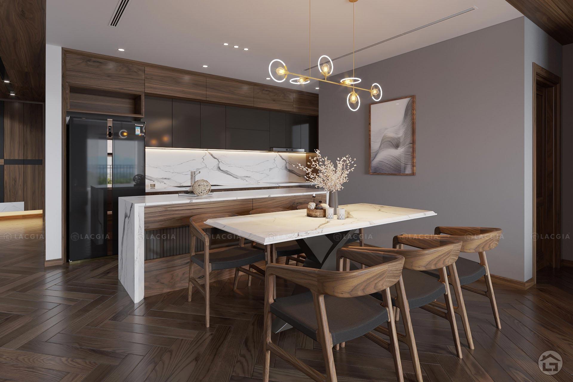 Sự kết nối không gian giữa phòng bếp và bàn ăn tiện lợi
