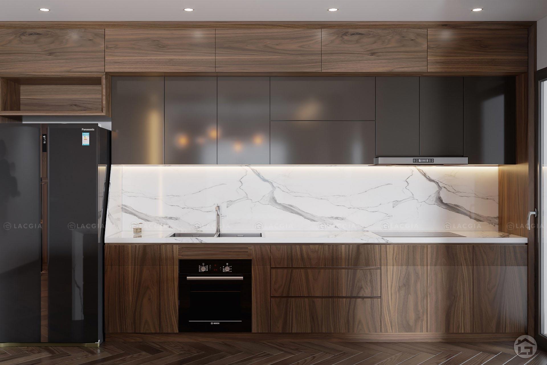 Tủ bếp được làm bằng chất liệu gỗ công nghiệp