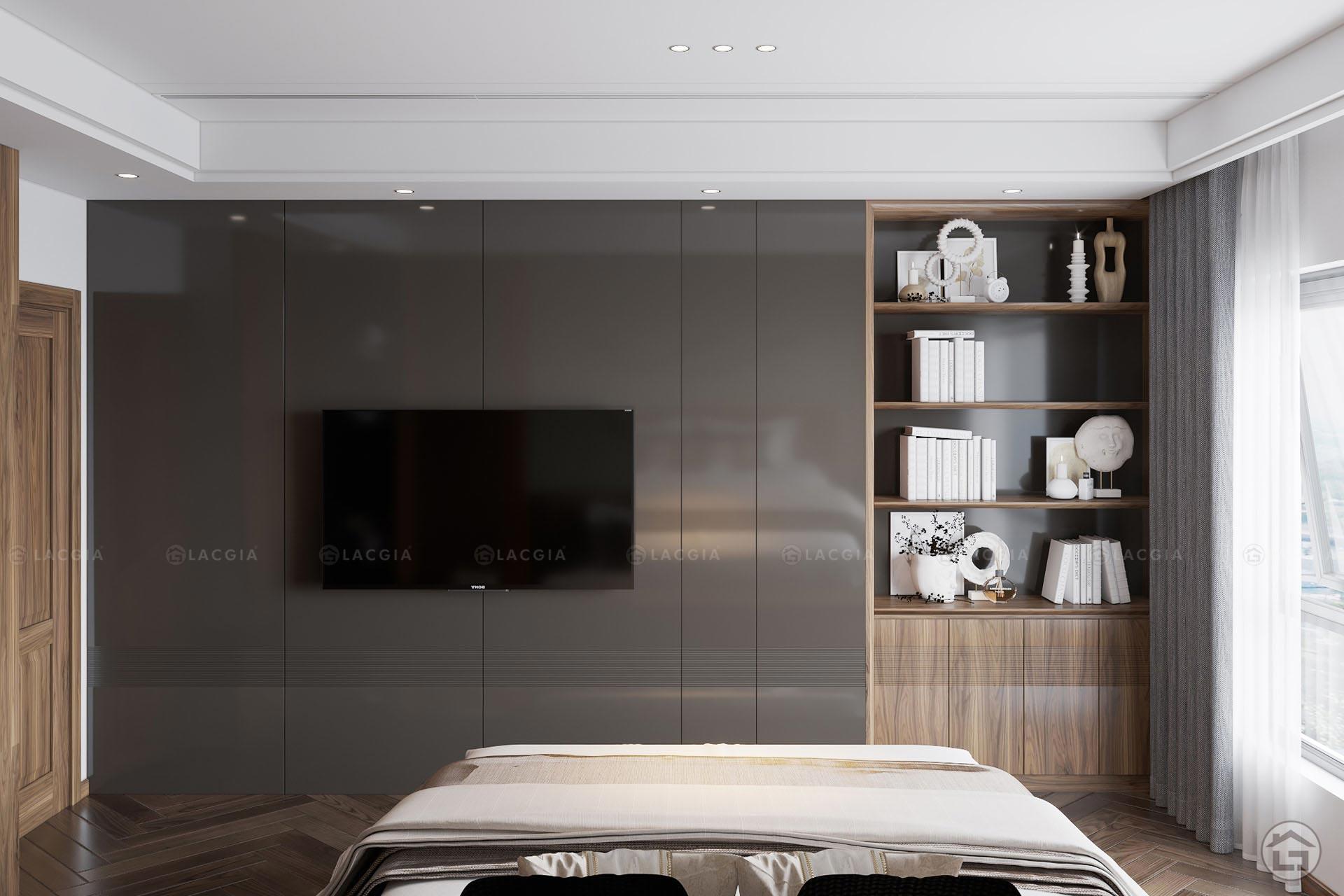 Sắc nâu trầm và trắng đem đến nét tươi mới và ấm cúng cho căn phòng