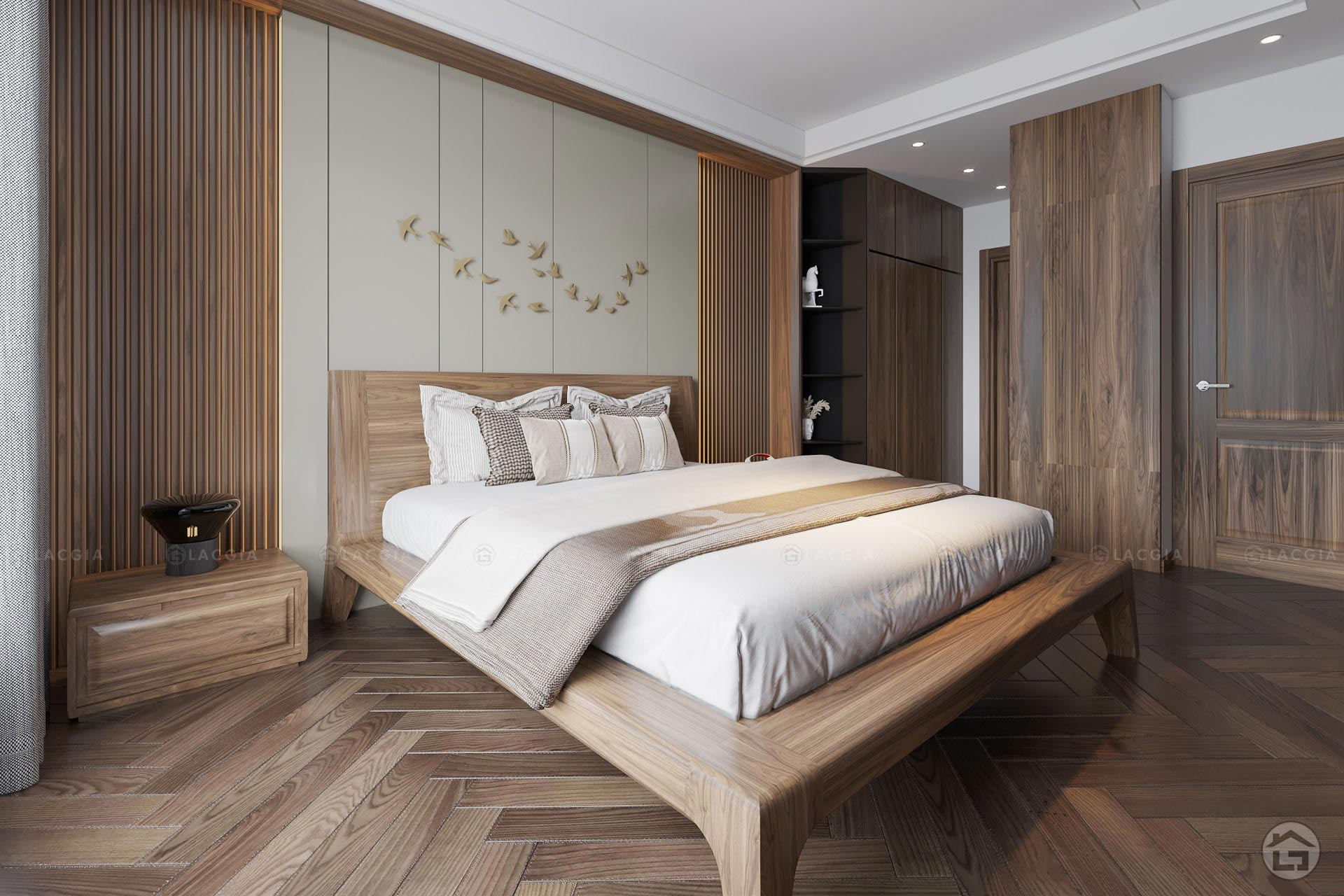 Mẫu giường ngủ gỗ đơn giản tinh tế GN20