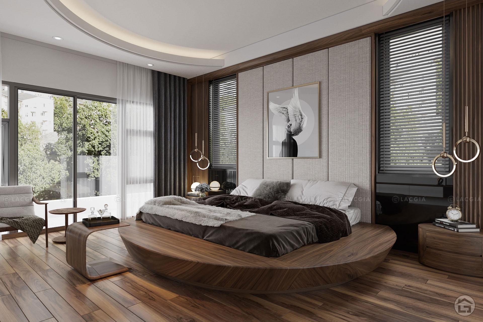 Giường tròn gỗ óc chó sang trọng GN21