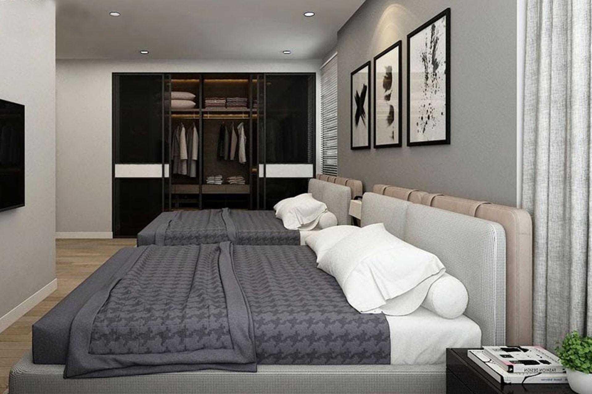 Bố trí giường hài hòa, tăng cảm giác rộng rãi