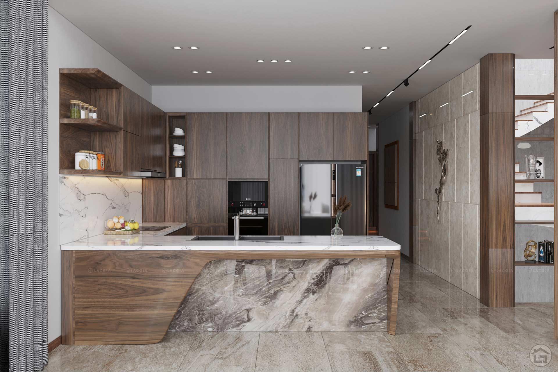 Tủ bếp gỗ tự nhiên sở hữu những ưu điểm vượt trội