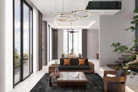 Thiết kế nội thất nhà phố hiện đại gỗ óc chó Anh Hiển Nam Định