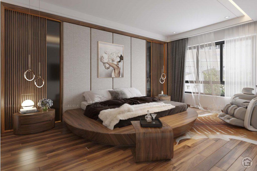 Sự đồng bộ và bố trí hợp lý nội thất của phòng ngủ tạo không gian đẹp, độc đáo