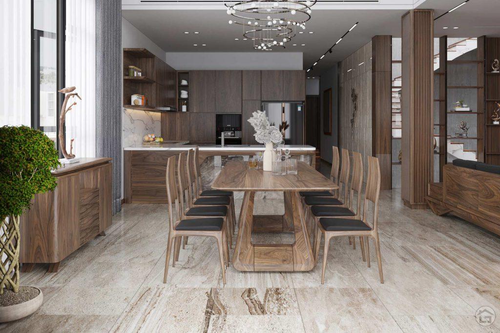 Nội thất phòng bếp nối liền bàn ăn ngăn nắp, tiện nghi