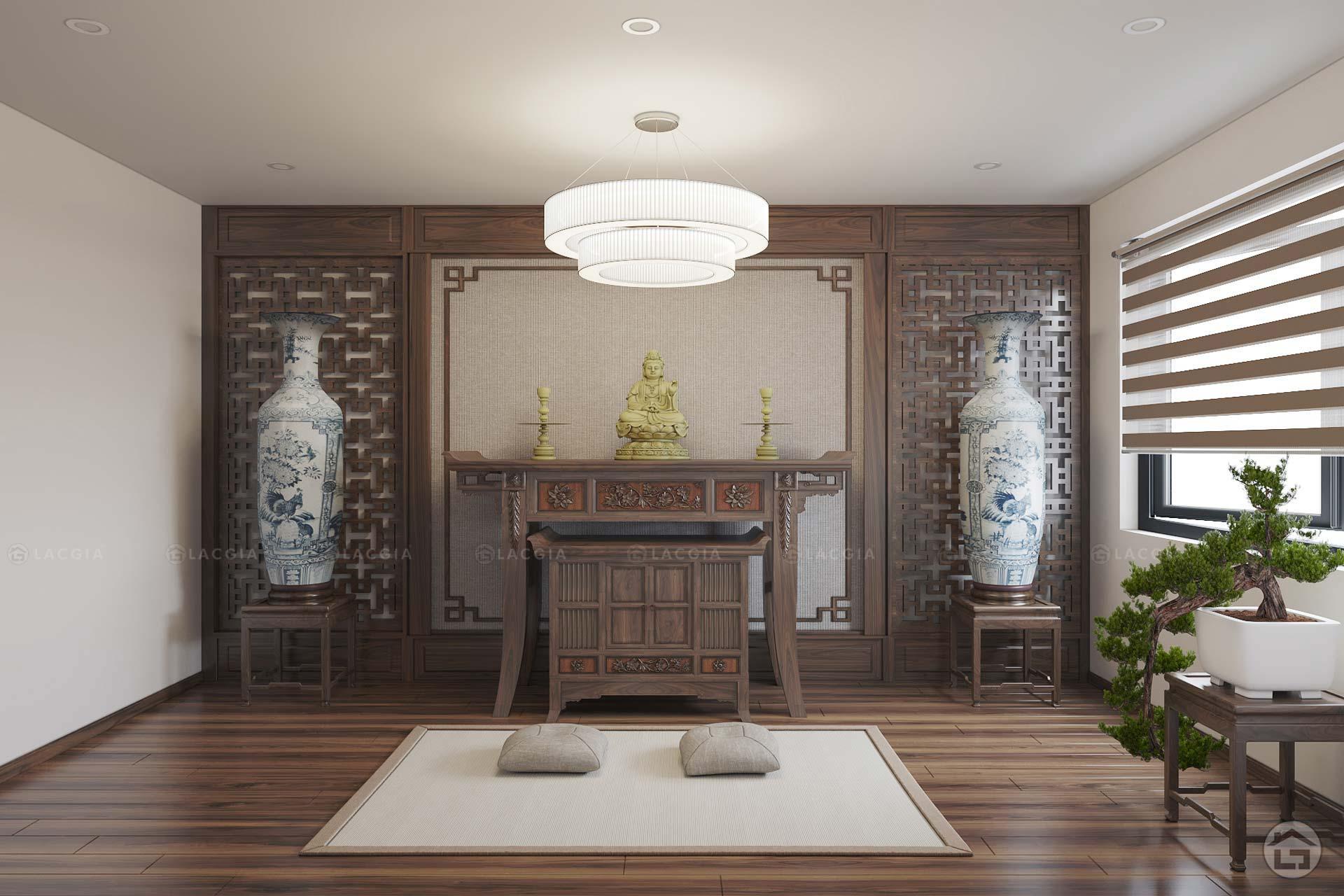 Thiết kế nội thất phòng thờ được xem là một trong những việc rất quan trọng mà nhiều gia đình hiện nay để ý