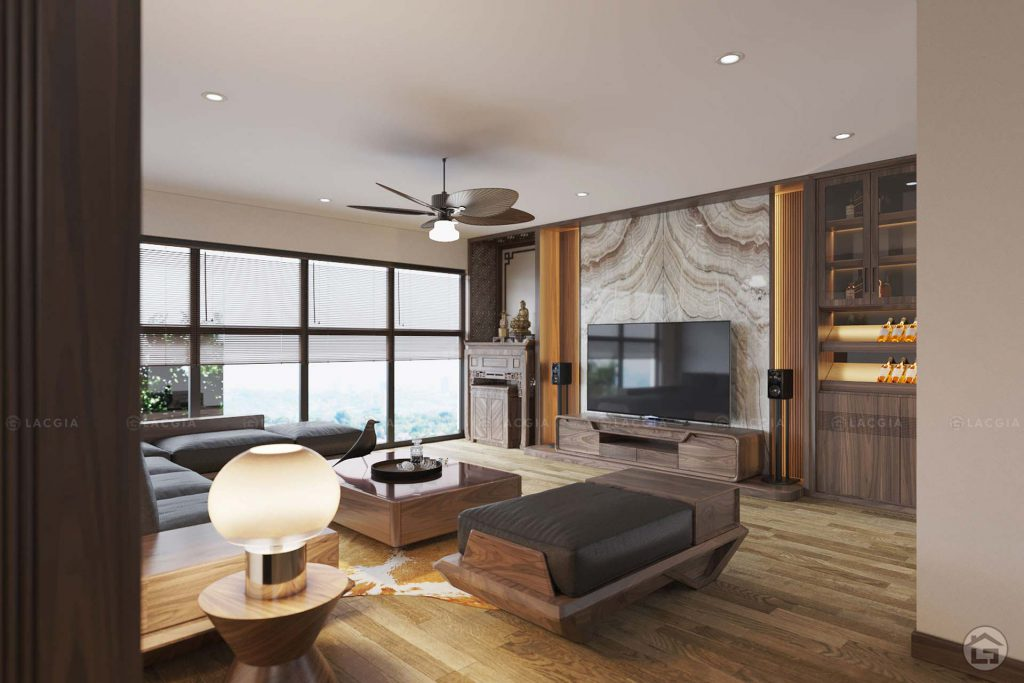 Thiết kế nội thất cho phòng khách căn hộ 2 phòng ngủ