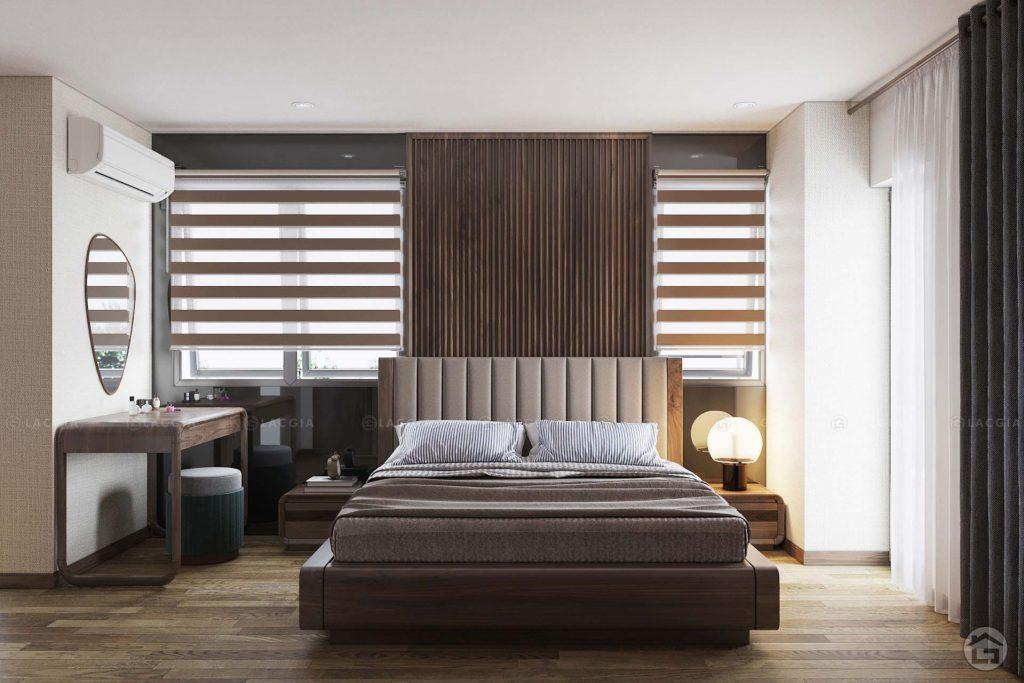 Sử dụng nội thất gỗ và tông màu nâu gỗ tạo cảm giác ấm cúng cho phòng ngủ