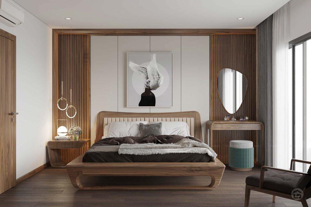 Mẫu phòng khách tối giản, hiện đại với tông màu nâu - trắng ấn tượng