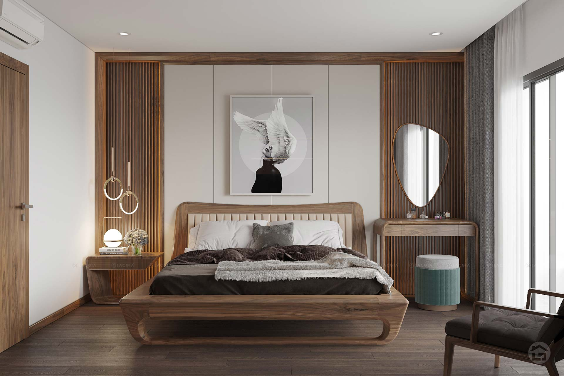 Phòng ngủ master lấy tone màu sáng chủ đạo