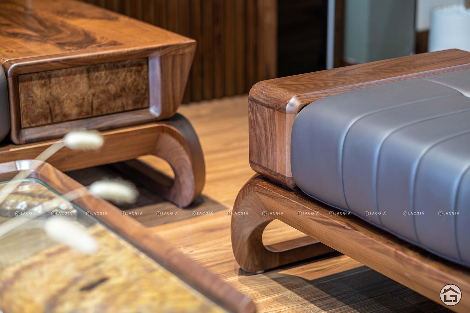 Sofa gỗ LV - Sofa gỗ óc chó cao cấp
