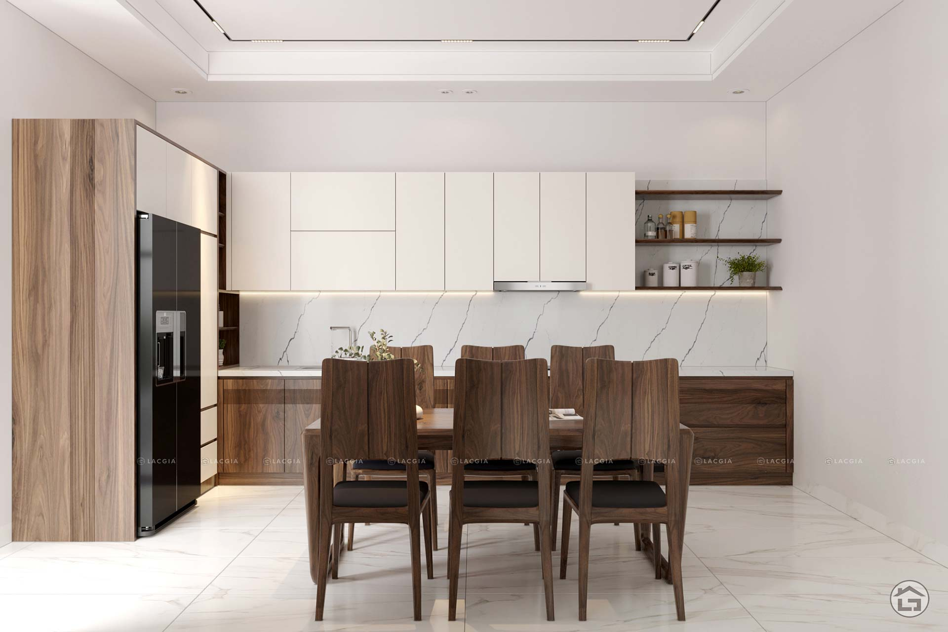Màu sáng như trắng là sự lựa chọn hoàn hảo để tạo thêm không gian cho căn bếp nhỏ hẹp